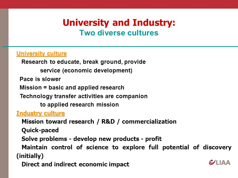 University and Industry: Two diverse cultures University culture Research to educate, break ground, provide service (economic development) Pace is slo