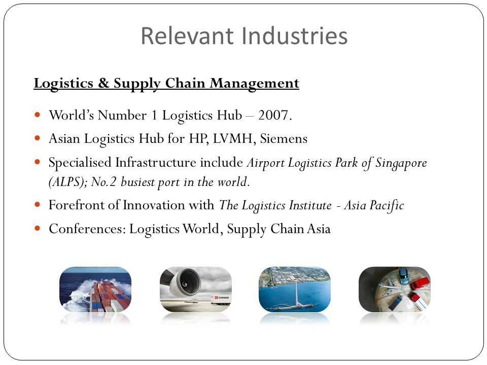 Relevant Industries Logistics & Supply Chain Management World's Number 1 Logistics Hub – 2007.