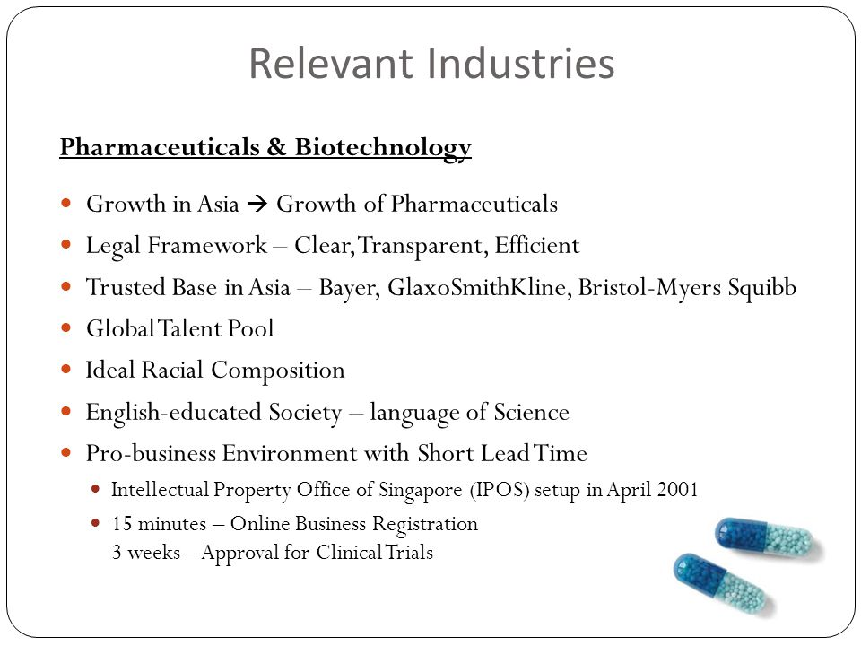 Relevant Industries Pharmaceuticals & Biotechnology Growth in Asia  Growth of Pharmaceuticals Legal Framework – Clear, Transparent, Efficient Trusted Base in Asia – Bayer, GlaxoSmithKline, Bristol-Myers Squibb Global Talent Pool Ideal Racial Composition English-educated Society – language of Science Pro-business Environment with Short Lead Time Intellectual Property Office of Singapore (IPOS) setup in April 2001 15 minutes – Online Business Registration 3 weeks – Approval for Clinical Trials