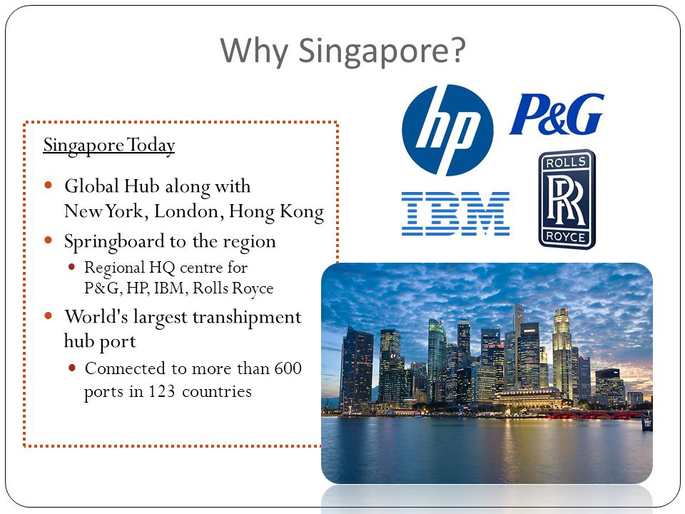 Singapore Today Global Hub along with New York, London, Hong Kong Springboard to the region Regional HQ centre for P&G, HP, IBM, Rolls Royce World s largest transhipment hub port Connected to more than 600 ports in 123 countries Why Singapore