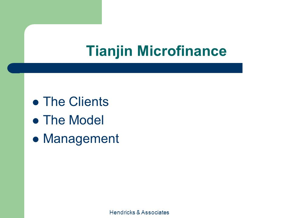 Hendricks & Associates Tianjin Microfinance The Clients The Model Management