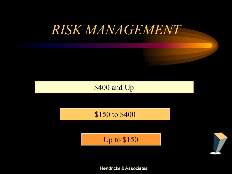 Hendricks & Associates RISK MANAGEMENT Up to $150 $150 to $400 $400 and Up