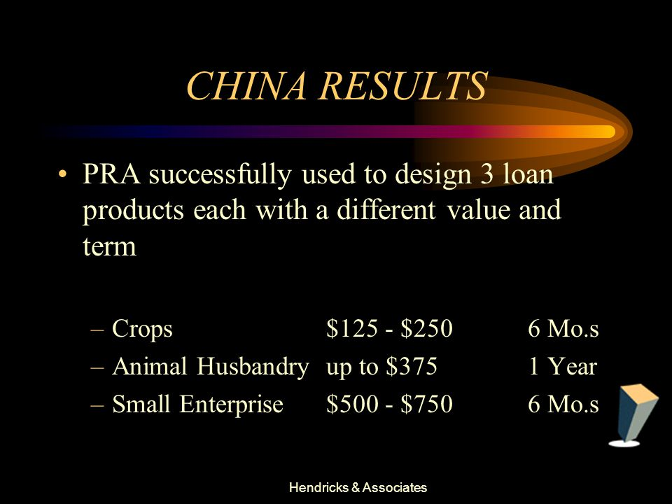 Hendricks & Associates CHINA RESULTS PRA successfully used to design 3 loan products each with a different value and term –Crops $125 - $2506 Mo.s –Animal Husbandry up to $3751 Year –Small Enterprise$500 - $7506 Mo.s