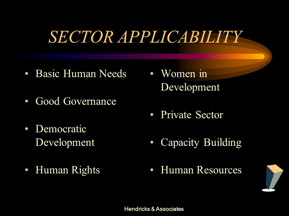 Hendricks & Associates SECTOR APPLICABILITY Basic Human Needs Good Governance Democratic Development Human Rights Women in Development Private Sector Capacity Building Human Resources