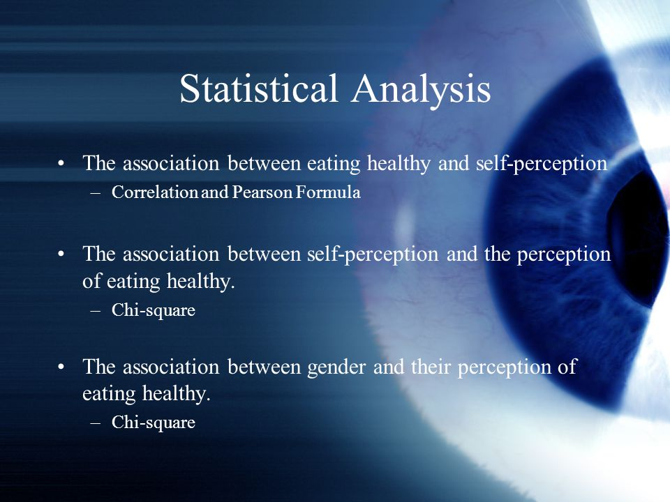 Statistical Analysis The association between eating healthy and self-perception –Correlation and Pearson Formula The association between self-perception and the perception of eating healthy.