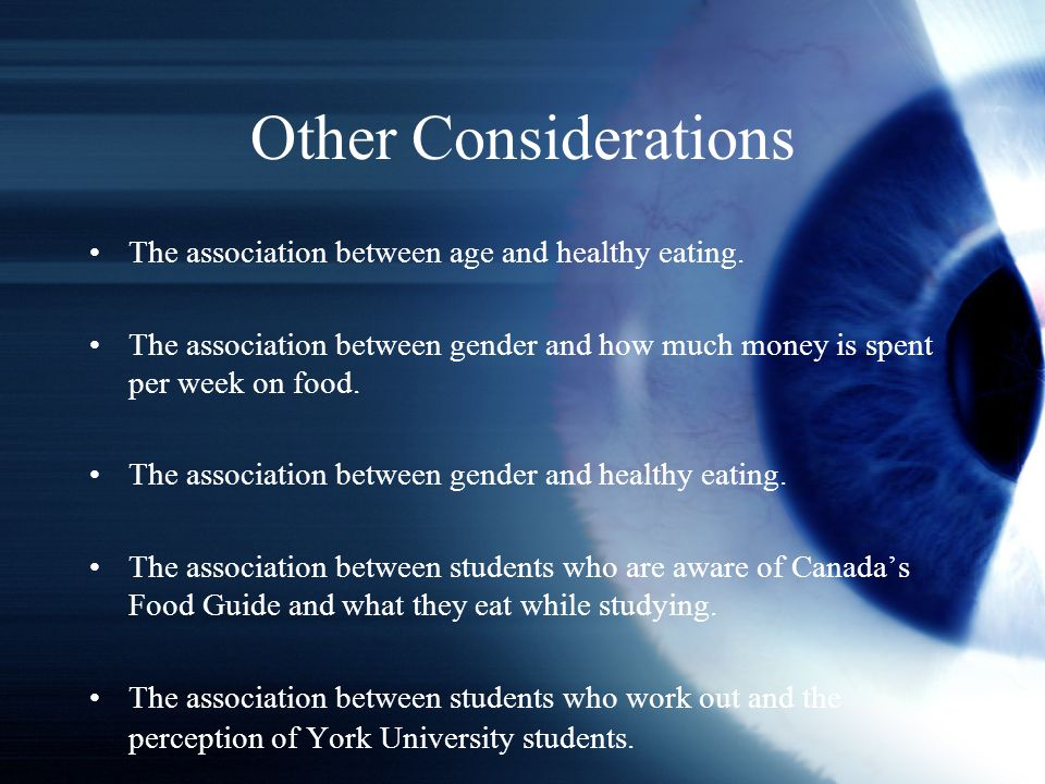 Other Considerations The association between age and healthy eating.