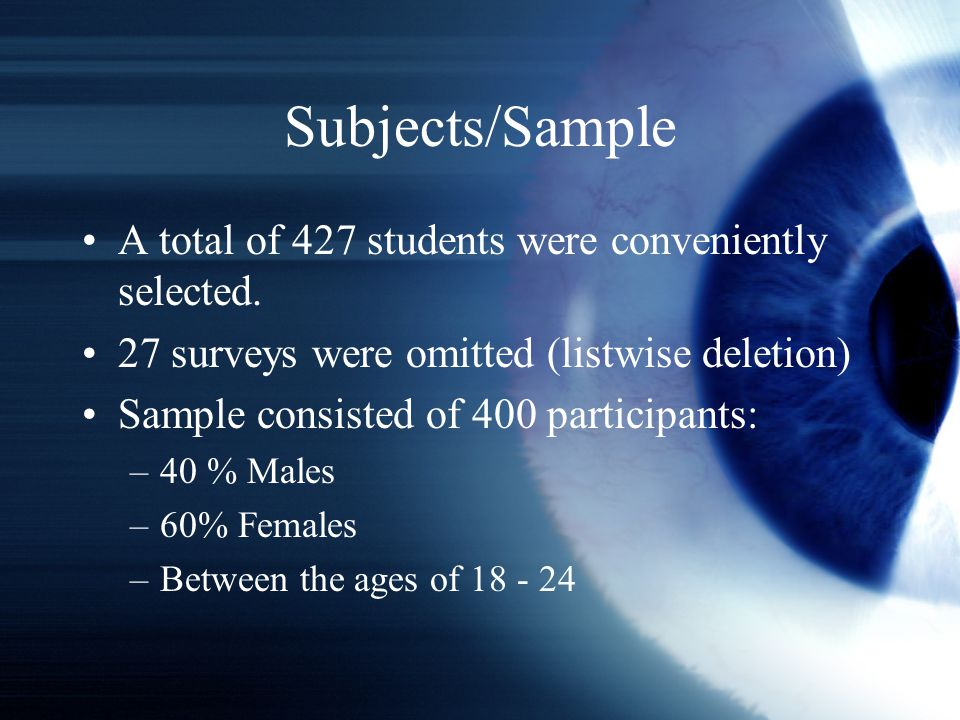 Subjects/Sample A total of 427 students were conveniently selected.