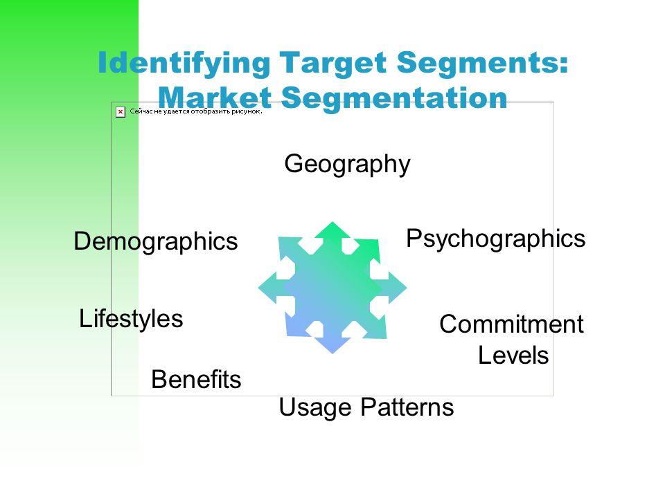 Identifying Target Segments: Market Segmentation Demographics Geography Psychographics Lifestyles Benefits Commitment Levels Usage Patterns