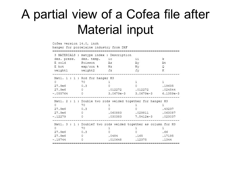 A partial view of a Cofea file after Material input Cofea version 14.0, inch hanger for porcelaine industry from DXF =================================