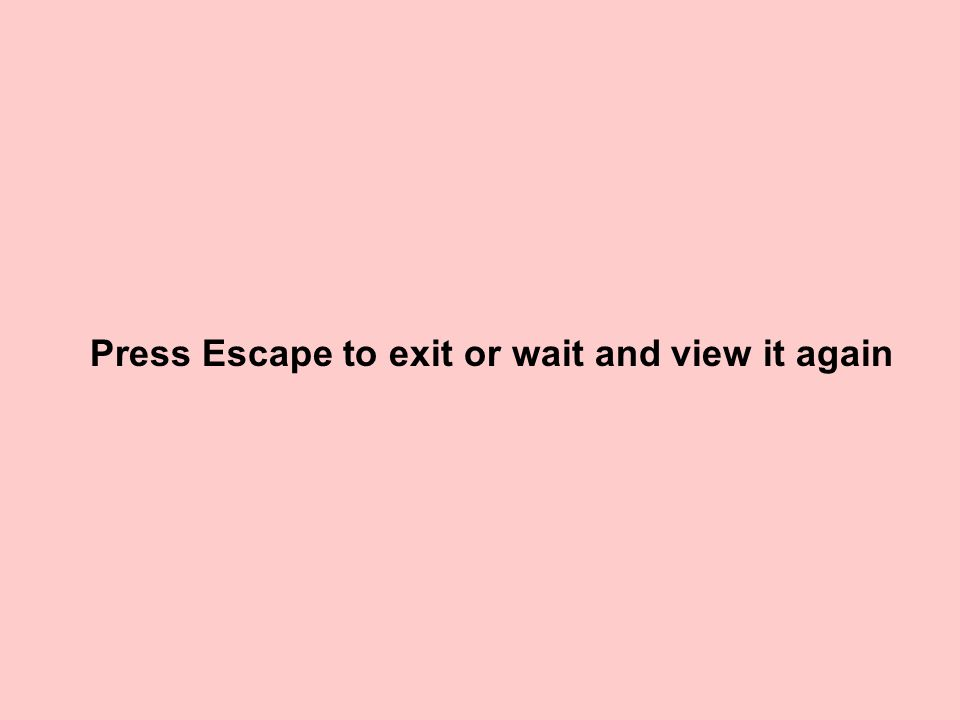 Press Escape to exit or wait and view it again