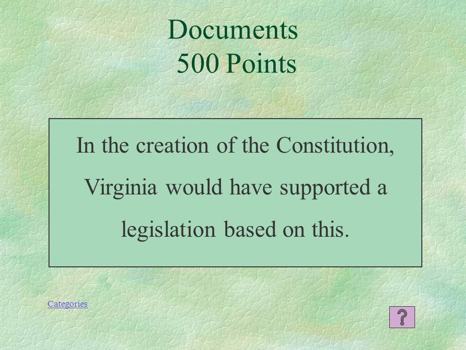 Categories What is the Constitution? Documents 400 Points