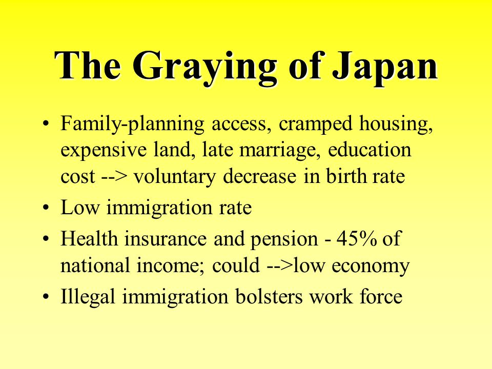 The Graying of Japan Family-planning access, cramped housing, expensive land, late marriage, education cost --> voluntary decrease in birth rate Low i