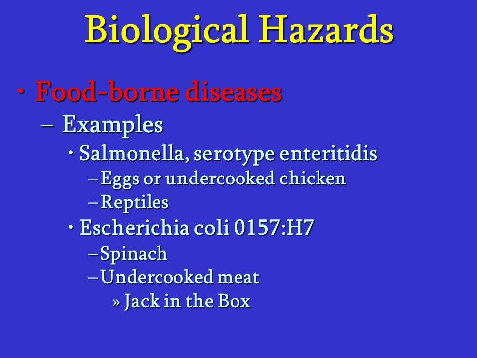 Biological Hazards Food-borne diseasesFood-borne diseases –Examples Salmonella, serotype enteritidisSalmonella, serotype enteritidis –Eggs or undercoo