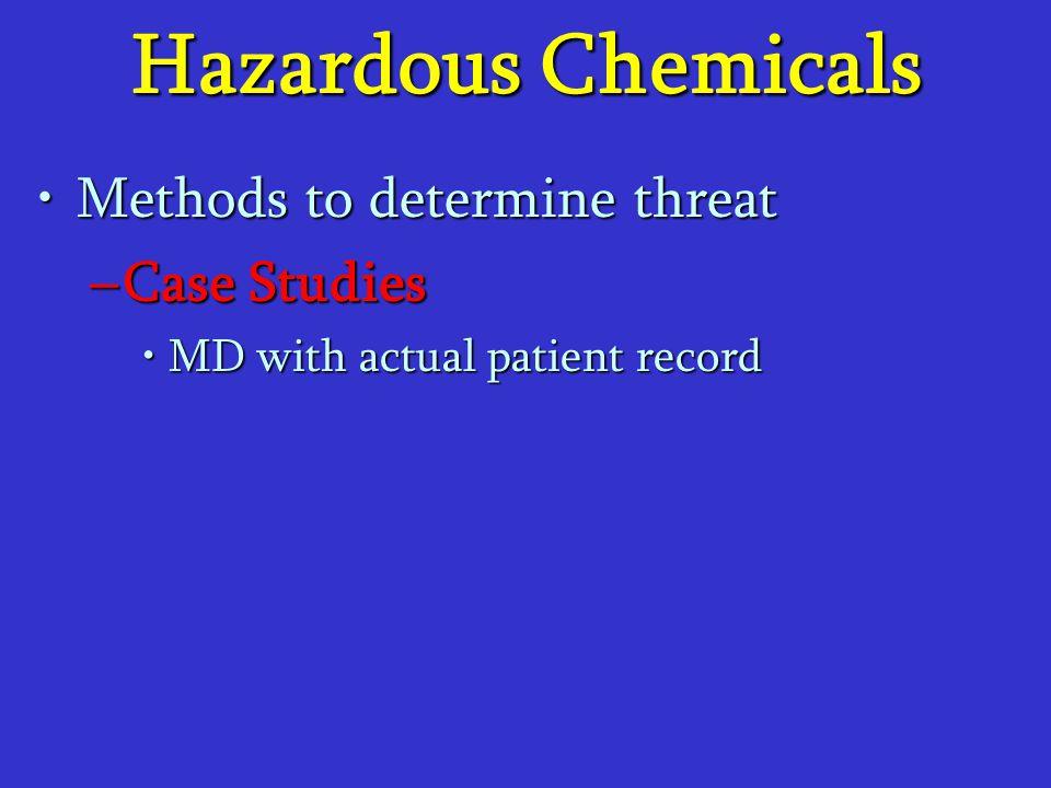 Hazardous Chemicals Methods to determine threatMethods to determine threat –Case Studies MD with actual patient recordMD with actual patient record