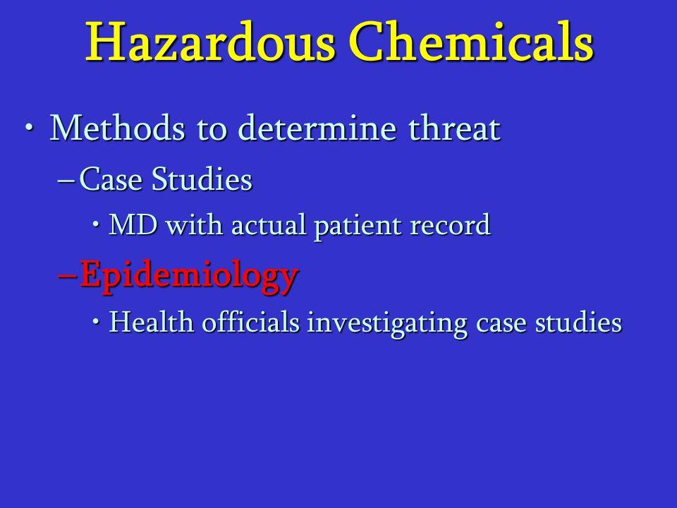 Hazardous Chemicals Methods to determine threatMethods to determine threat –Case Studies MD with actual patient recordMD with actual patient record –E