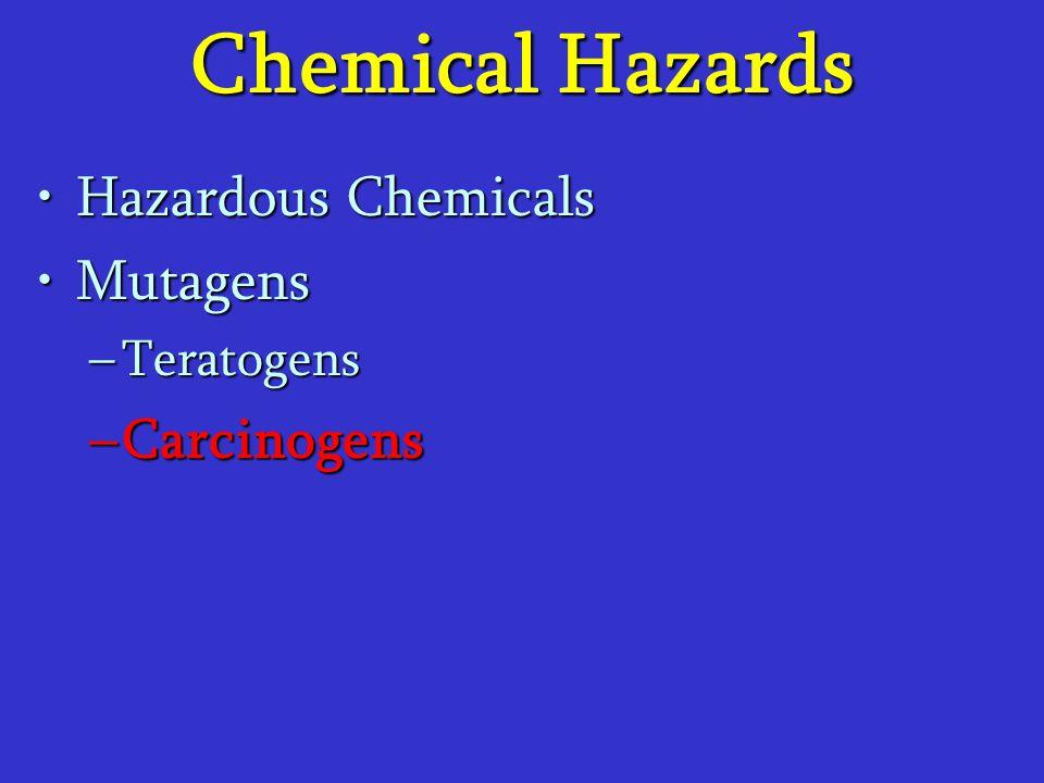 Chemical Hazards Hazardous ChemicalsHazardous Chemicals MutagensMutagens –Teratogens –Carcinogens