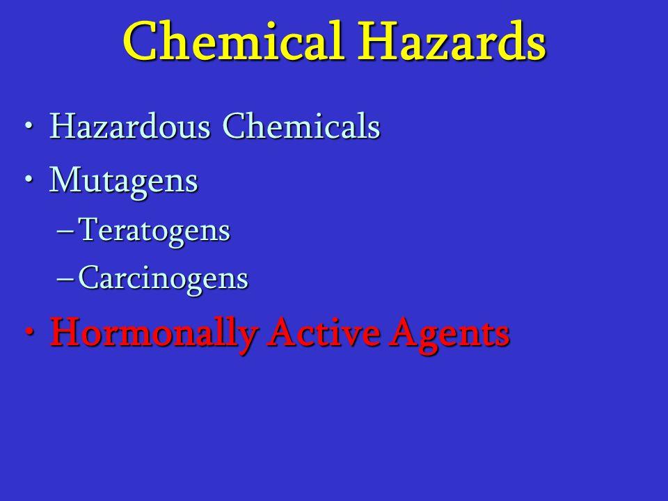 Chemical Hazards Hazardous ChemicalsHazardous Chemicals MutagensMutagens –Teratogens –Carcinogens Hormonally Active AgentsHormonally Active Agents