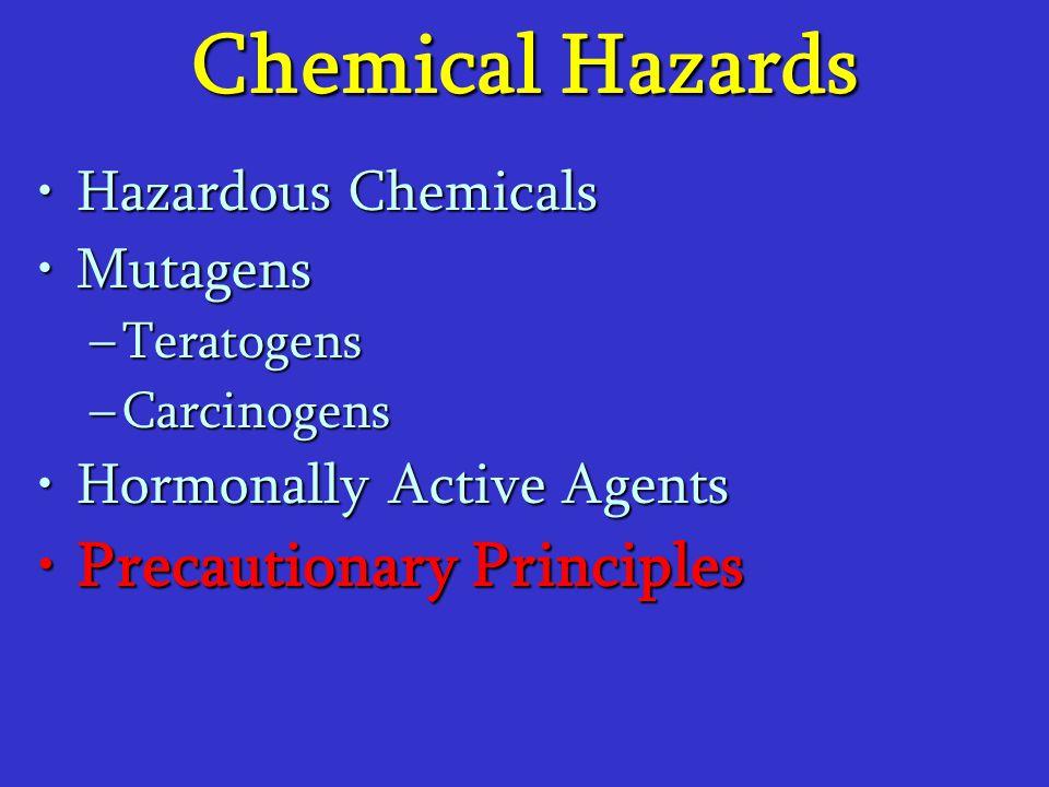 Chemical Hazards Hazardous ChemicalsHazardous Chemicals MutagensMutagens –Teratogens –Carcinogens Hormonally Active AgentsHormonally Active Agents Pre