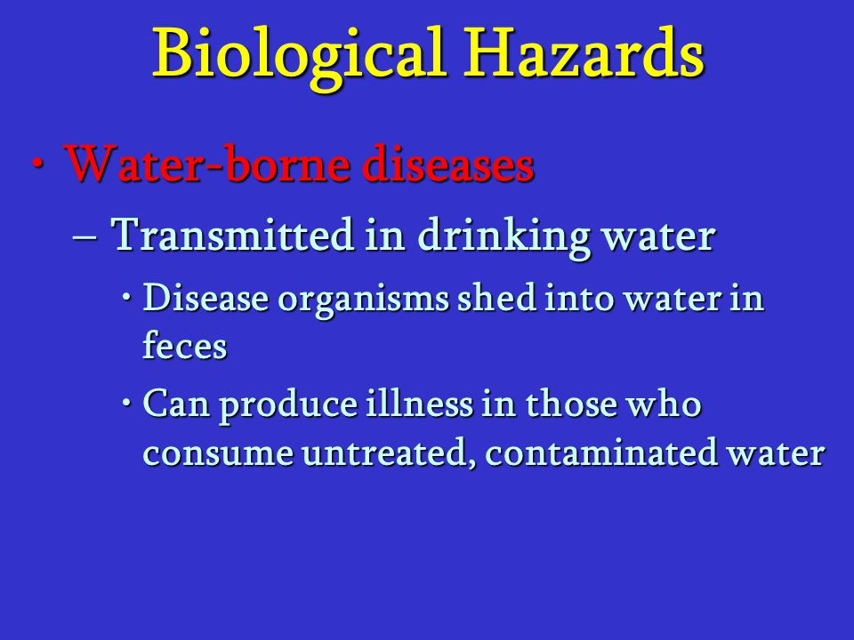 Biological Hazards Water-borne diseasesWater-borne diseases –Transmitted in drinking water Disease organisms shed into water in fecesDisease organisms