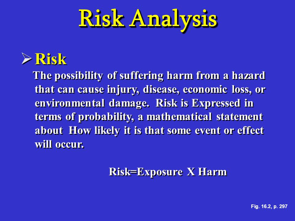 Risk Analysis  Risk The possibility of suffering harm from a hazard that can cause injury, disease, economic loss, or environmental damage. Risk is E