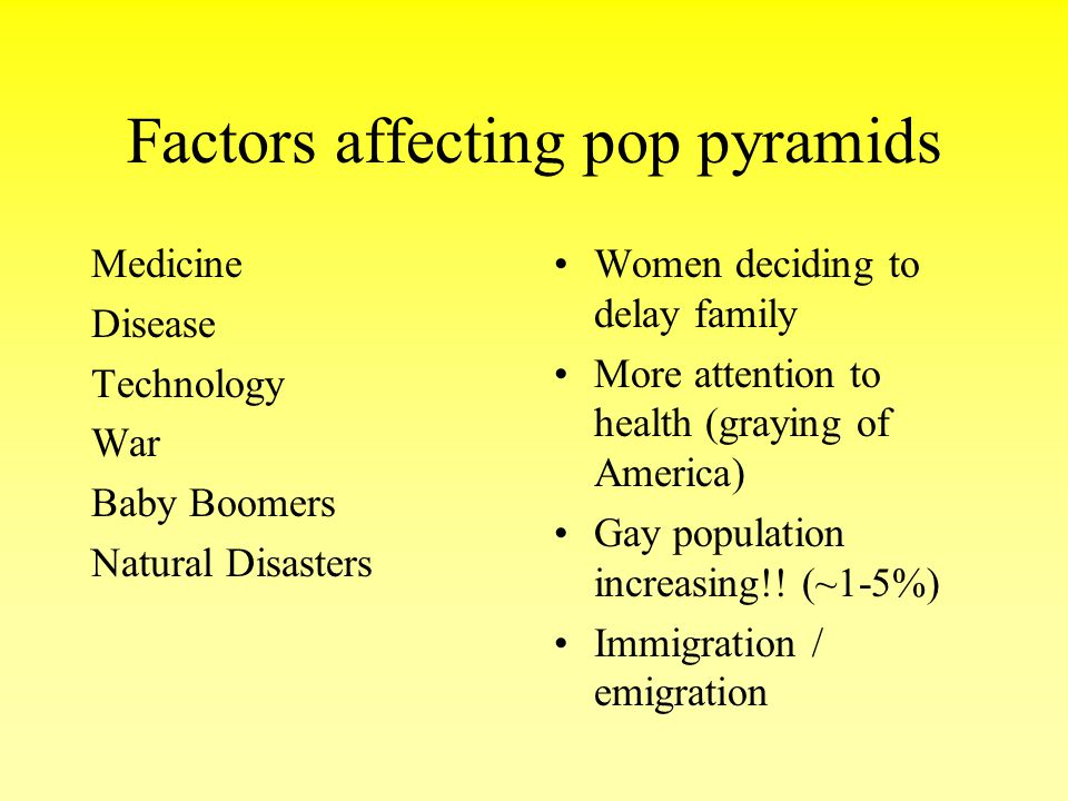 Factors affecting pop pyramids Medicine Disease Technology War Baby Boomers Natural Disasters Women deciding to delay family More attention to health