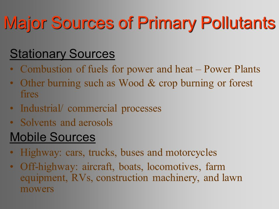 Specific Air Pollution Treatment Technology Traditional – Move factory to remote location – Build taller smokestack so wind blows pollution elsewhere New – Biofiltration : vapors pumped through soil where microbes degrade – High-energy destruction: high-voltage electricity – Membrane separation: diffusion of organic vapors through membrane – Oxidation: High temperature combustor
