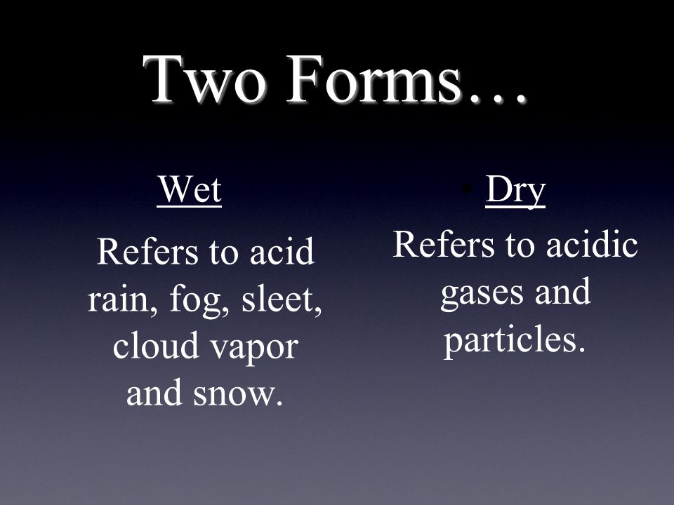 Two Forms… Wet Refers to acid rain, fog, sleet, cloud vapor and snow.