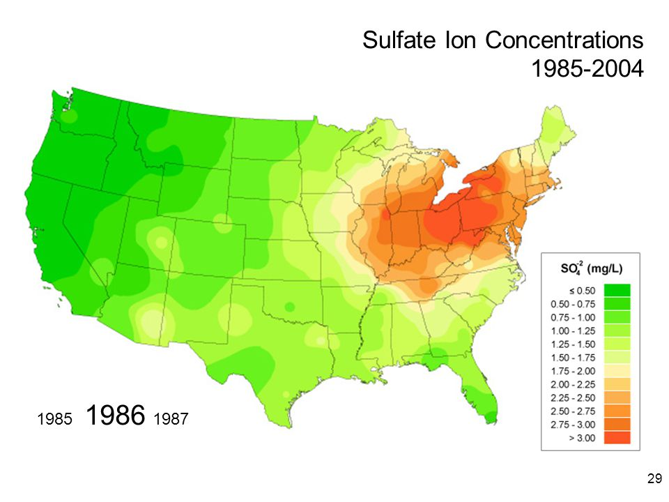 29 1986 19871985 Sulfate Ion Concentrations 1985-2004