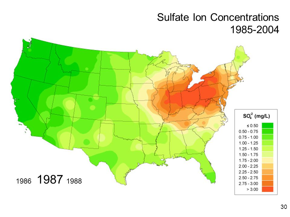 30 1987 19881986 Sulfate Ion Concentrations 1985-2004