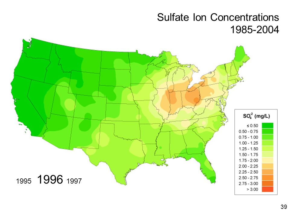 39 1996 19971995 Sulfate Ion Concentrations 1985-2004