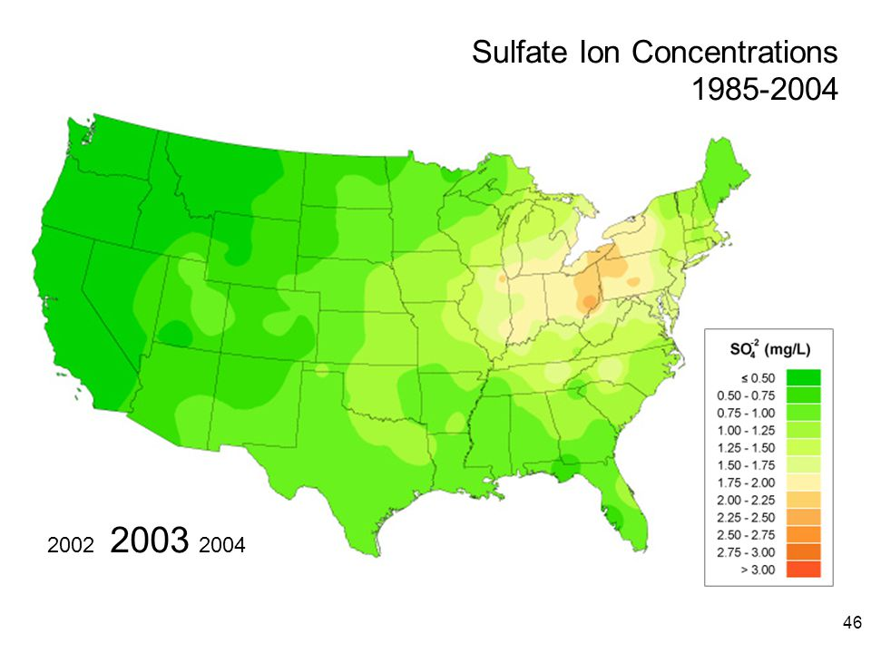 46 2003 20042002 Sulfate Ion Concentrations 1985-2004