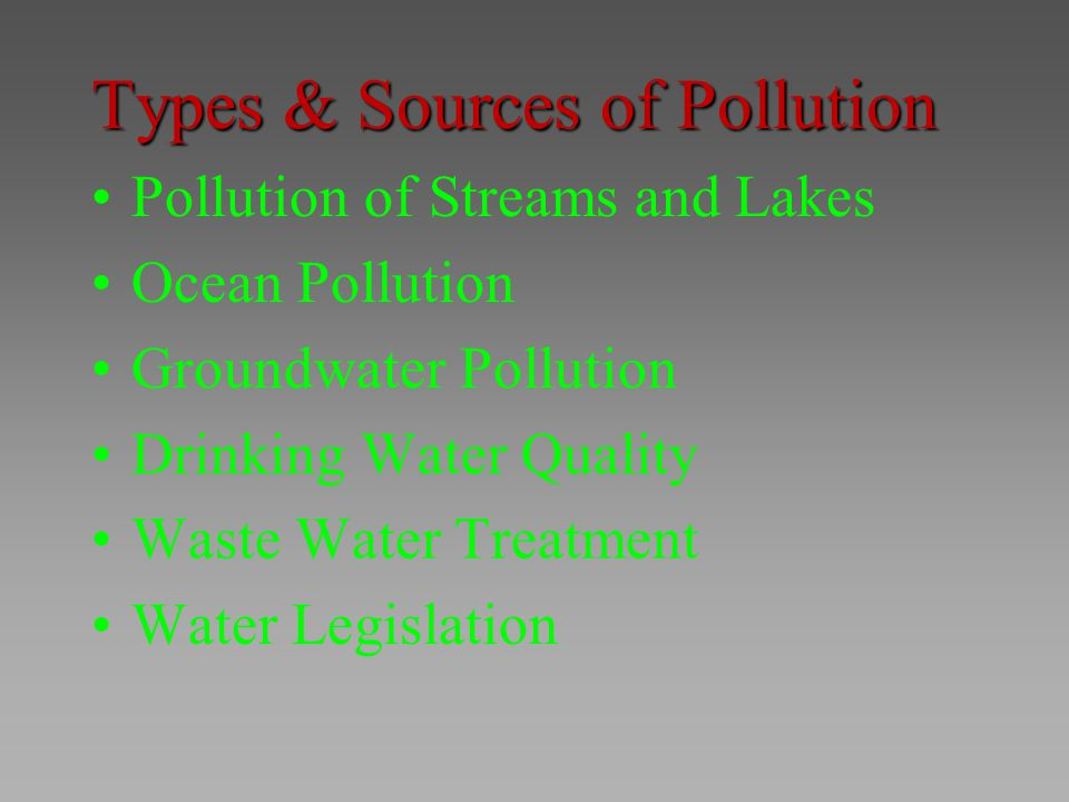Types & Sources of Pollution Pollution of Streams and Lakes Ocean Pollution Groundwater Pollution Drinking Water Quality Waste Water Treatment Water L