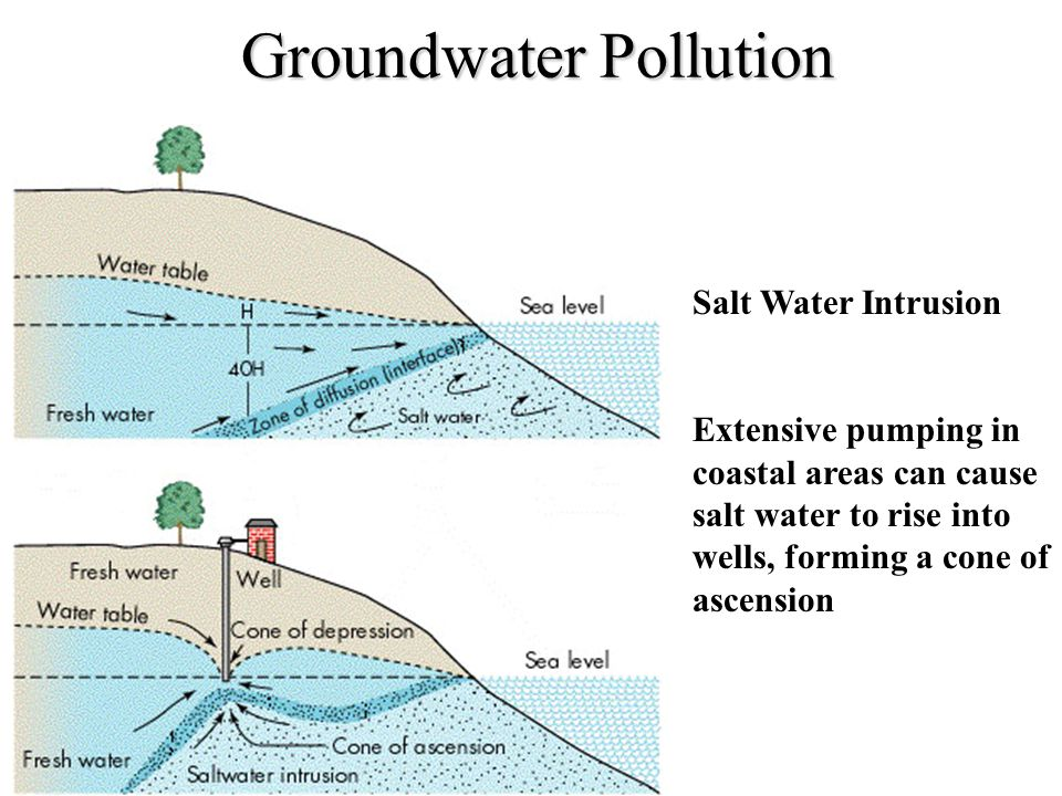 Groundwater Pollution Salt Water Intrusion Extensive pumping in coastal areas can cause salt water to rise into wells, forming a cone of ascension