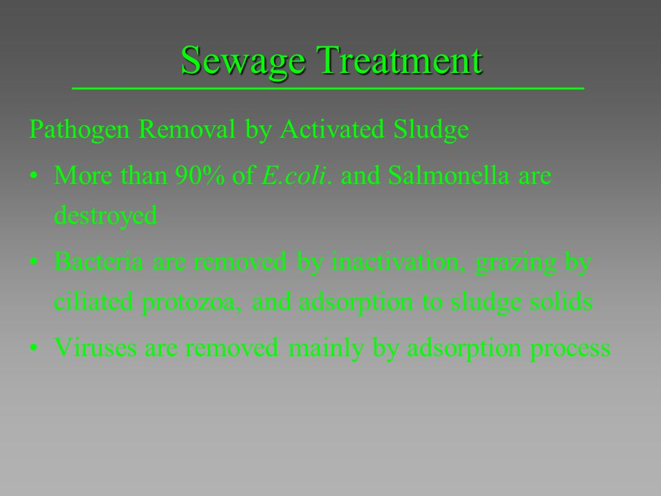 Sewage Treatment Pathogen Removal by Activated Sludge More than 90% of E.coli. and Salmonella are destroyed Bacteria are removed by inactivation, graz