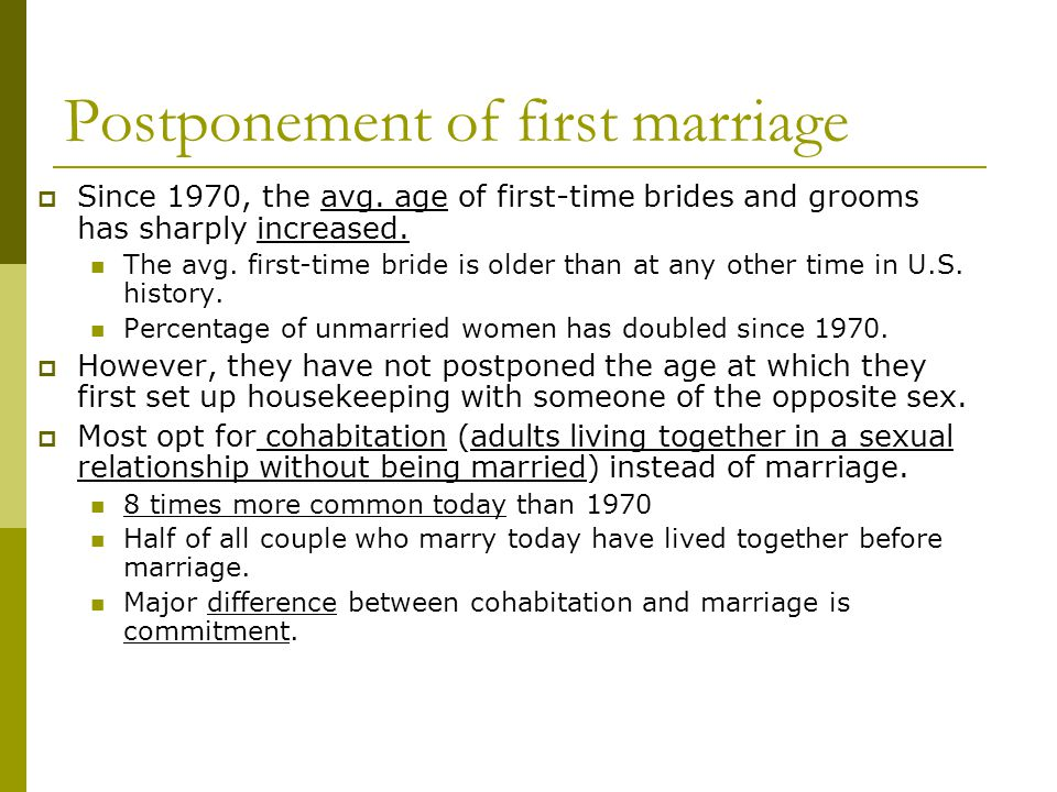 Postponement of first marriage  Since 1970, the avg.