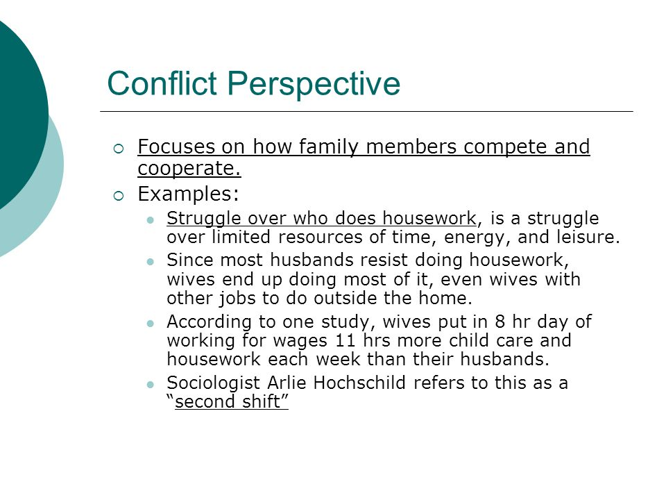 Conflict Perspective  Focuses on how family members compete and cooperate.  Examples: Struggle over who does housework, is a struggle over limited r