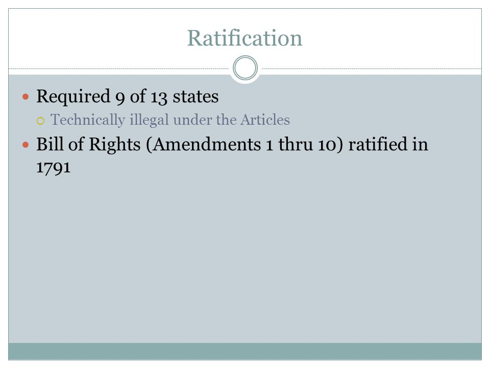 Ratification Required 9 of 13 states  Technically illegal under the Articles Bill of Rights (Amendments 1 thru 10) ratified in 1791