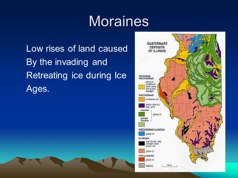 Moraines Low rises of land caused By the invading and Retreating ice during Ice Ages.