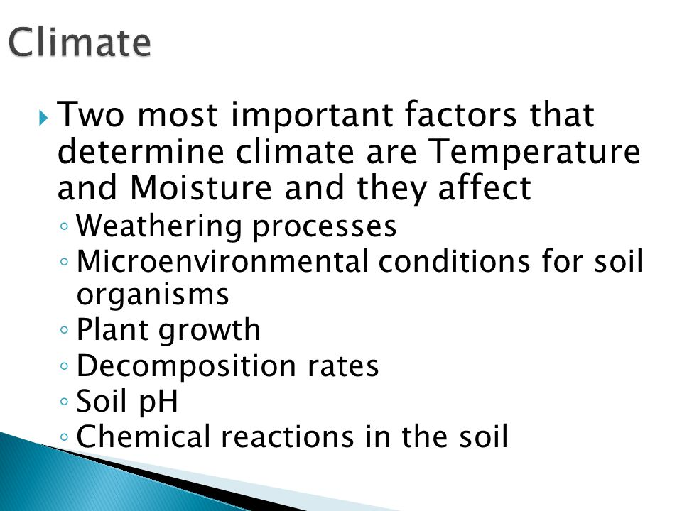  Two most important factors that determine climate are Temperature and Moisture and they affect ◦ Weathering processes ◦ Microenvironmental conditions for soil organisms ◦ Plant growth ◦ Decomposition rates ◦ Soil pH ◦ Chemical reactions in the soil