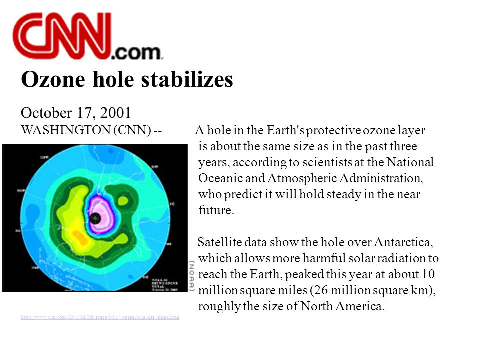 Ozone hole stabilizes October 17, 2001 WASHINGTON (CNN) -- A hole in the Earth's protective ozone layer is about the same size as in the past three ye