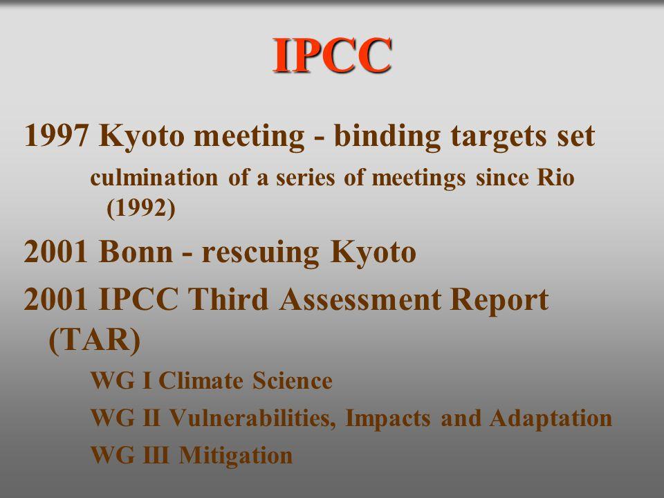IPCC 1997 Kyoto meeting - binding targets set culmination of a series of meetings since Rio (1992) 2001 Bonn - rescuing Kyoto 2001 IPCC Third Assessme