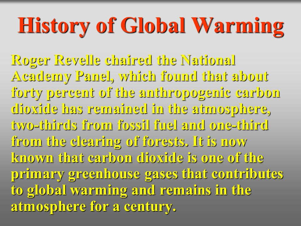 History of Global Warming Roger Revelle chaired the National Academy Panel, which found that about forty percent of the anthropogenic carbon dioxide h