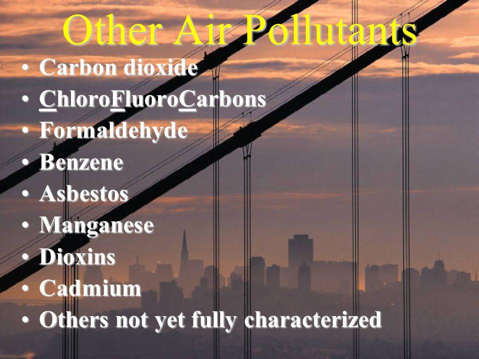 Other Air Pollutants Carbon dioxideCarbon dioxide ChloroFluoroCarbonsChloroFluoroCarbons FormaldehydeFormaldehyde BenzeneBenzene AsbestosAsbestos Mang