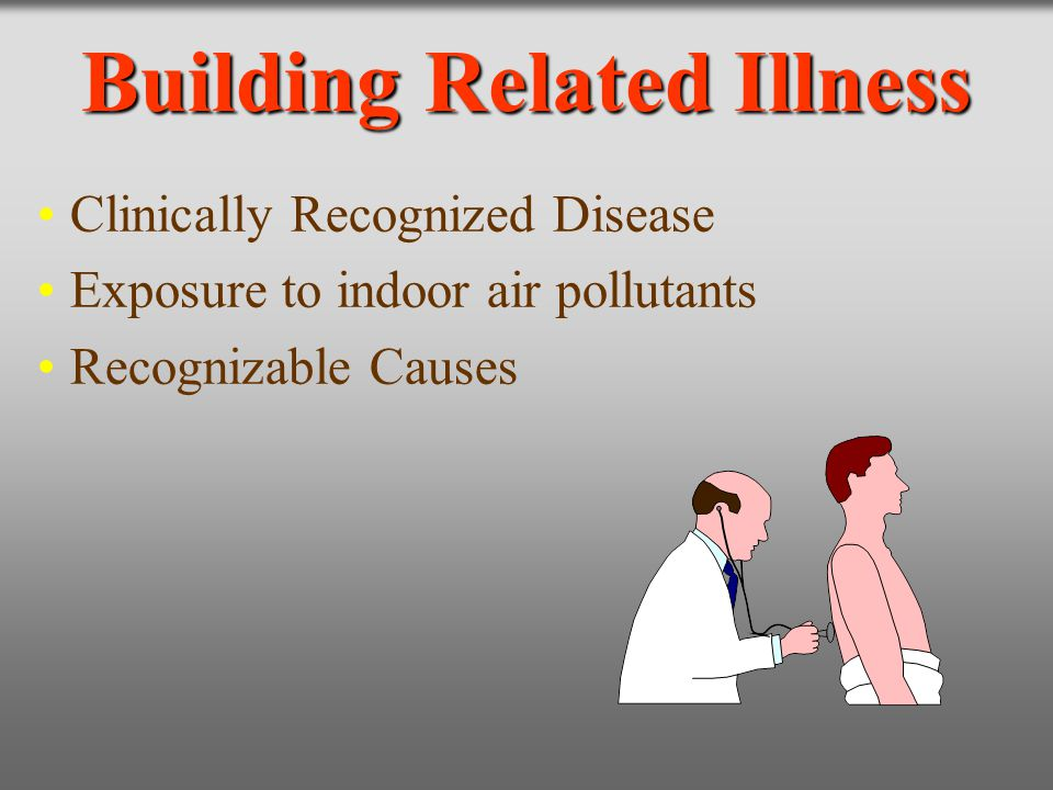 Building Related Illness Clinically Recognized Disease Exposure to indoor air pollutants Recognizable Causes
