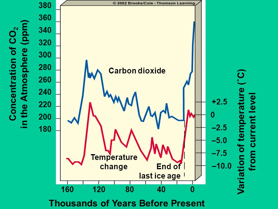 Carbon dioxide Temperature change End of last ice age 16012080400 Thousands of Years Before Present Concentration of CO 2 in the Atmosphere (ppm) 180