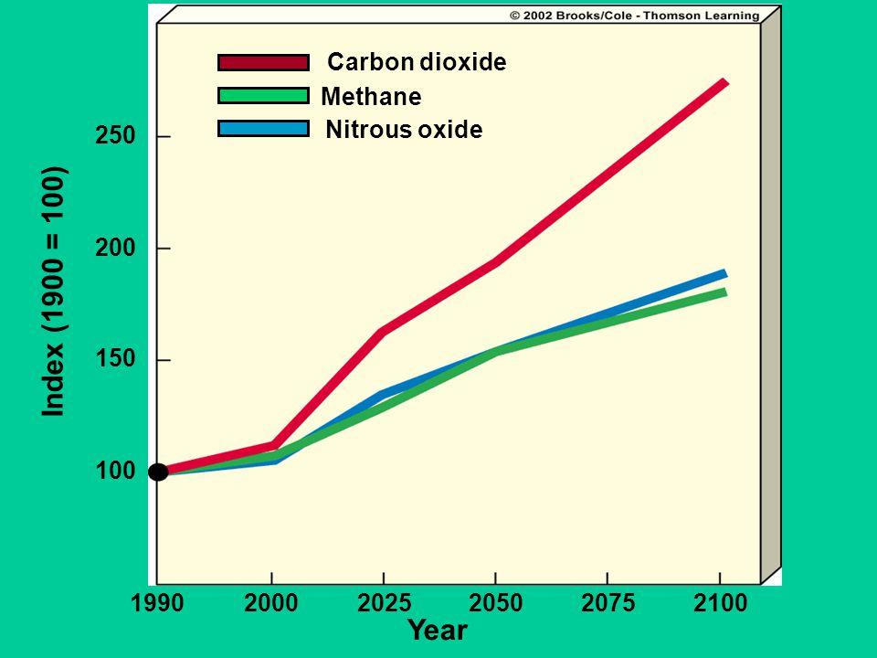 Year 199020002025205020752100 100 150 200 250 Index (1900 = 100) Carbon dioxide Methane Nitrous oxide