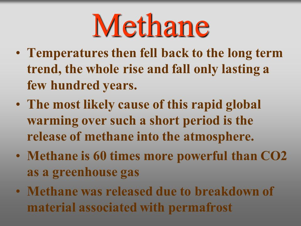 Methane Temperatures then fell back to the long term trend, the whole rise and fall only lasting a few hundred years. The most likely cause of this ra