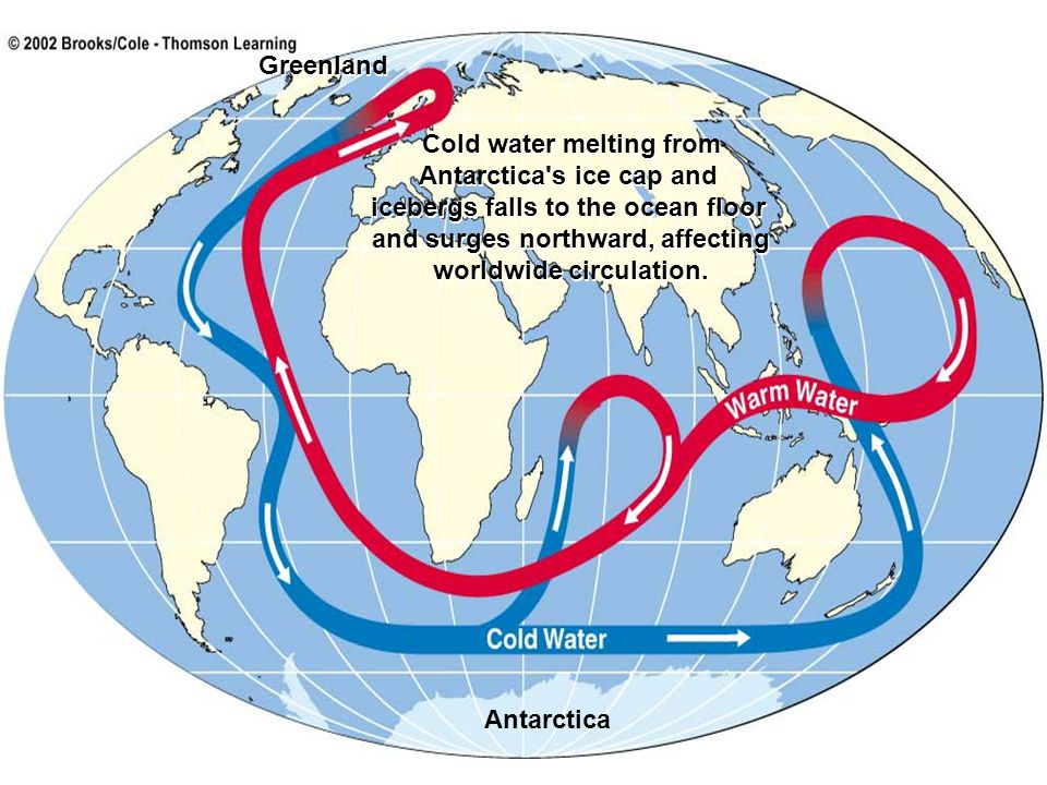 Antarctica Cold water melting from Antarctica's ice cap and icebergs falls to the ocean floor and surges northward, affecting worldwide circulation. C