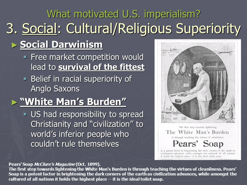 What motivated U.S. imperialism? 3. Social: Cultural/Religious Superiority ► Social Darwinism  Free market competition would lead to survival of the