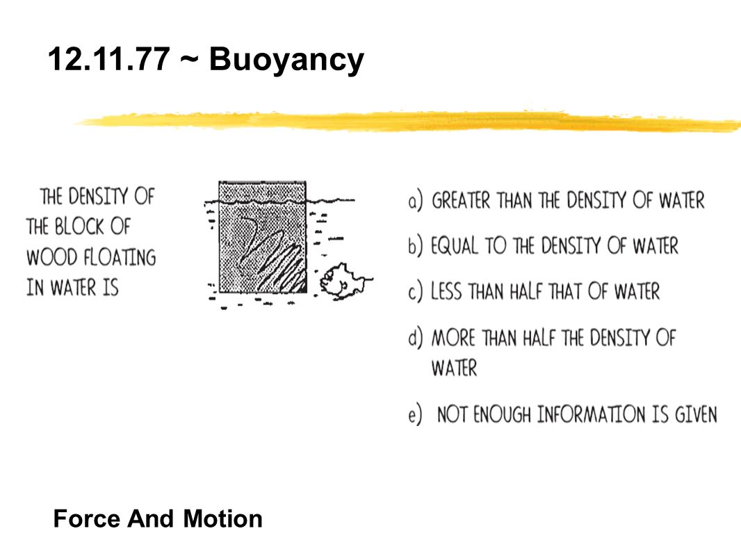 12.11.77 ~ Buoyancy Force And Motion
